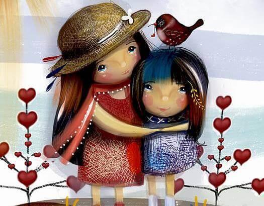 zwei-gemalte-maedchen-umarmen-sich