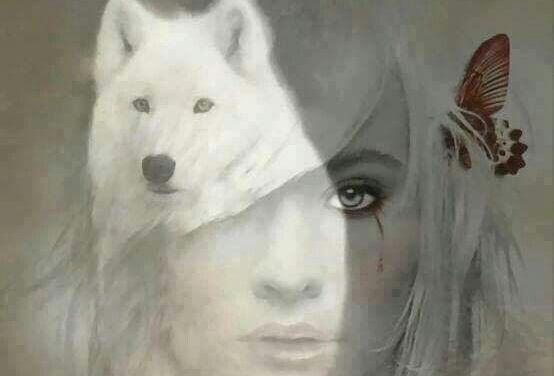 frau-und-weisser-wolf