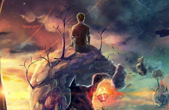Mann-der-auf-einem-Planeten-sitzt