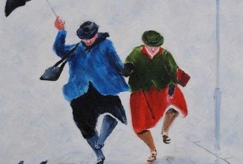 Älteres Paar tanzt im Freien