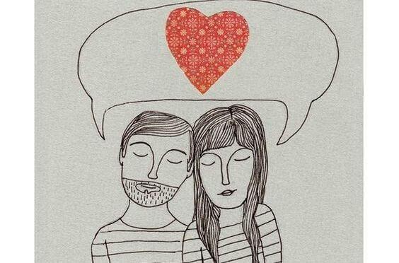 Skizze eines Paares, das an Liebe denkt