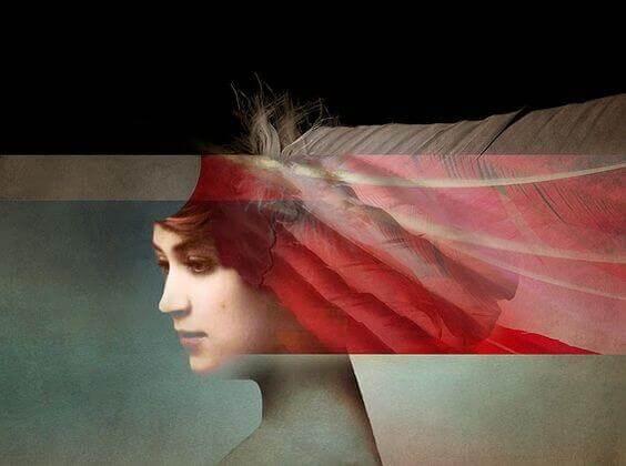 Verzerrter Kopf einer Frau