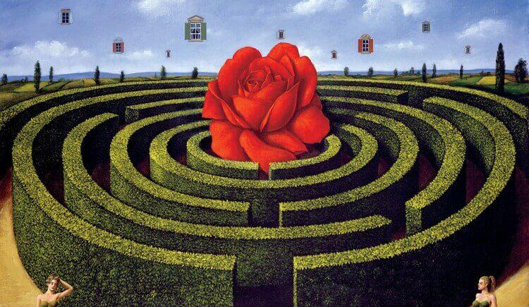 Ein surrealer Irrgarten mit Rose im Zentrum