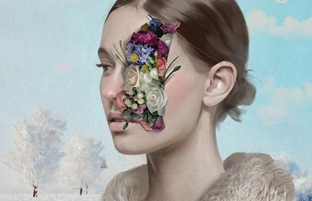 Blumen im Gesicht einer Frau