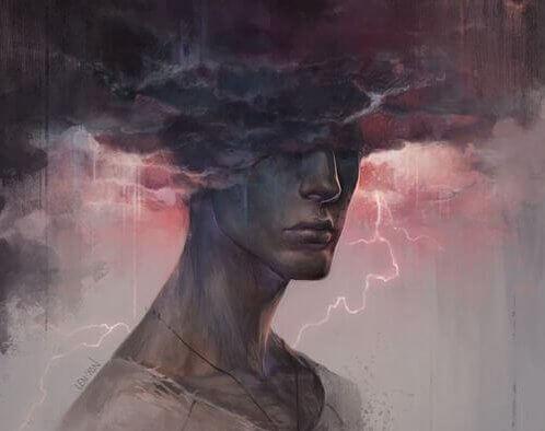 Geist eines Menschen ist in einer Gewitterwolke gefangen