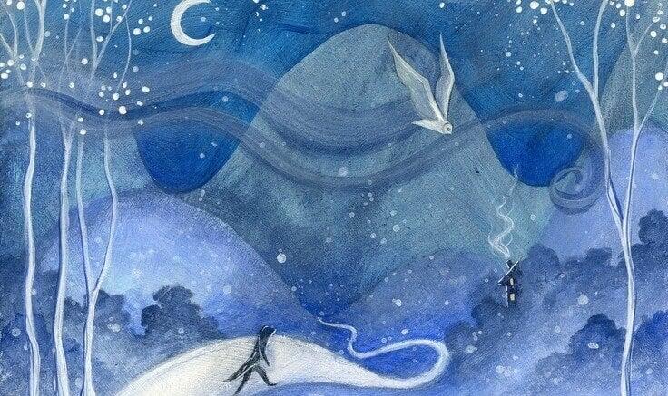 In einer nächtlichen Berglandschaft ist ein einsamer Wanderer unterwegs, um seine Traurigkeit zu verstehen.