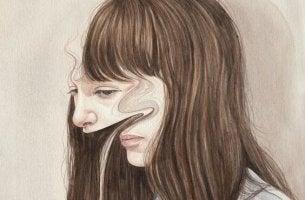 Psychisch krank? - Das verzerrtes Porträt einer Frau