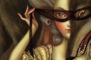 Frau setzt sich eine Maske auf, um Halbwahrheiten zu verdecken