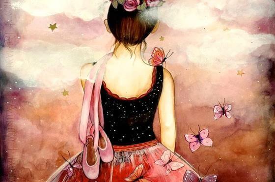 Ballerina mit Schmetterlingen