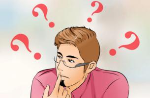 Der paradoxe Gedanke - Denkender Mann ist von Fragezeichen umgeben.