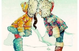 Eskimos begrüßen sich Nase an Nase