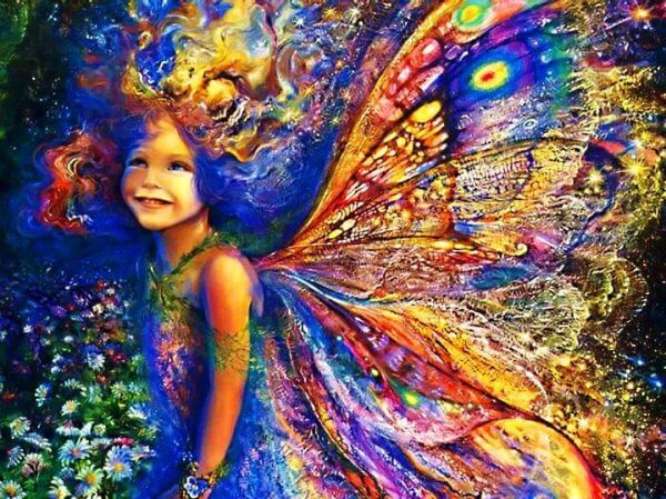 Feenmädchen mit bunten Schmetterlingsflügeln