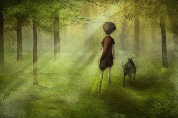 Ein Junge mit seinem Hund