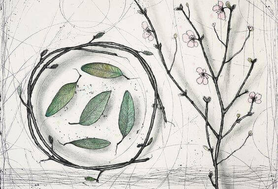 Eine botanische Zeichnung mit blühenden Zweigen, einem Zweigenkranz und Blättern.