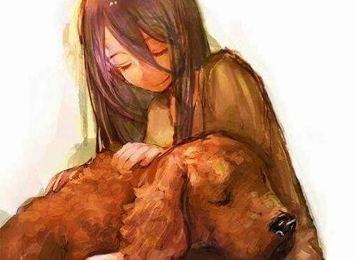 Ein Mädchen streichelt einen Hund