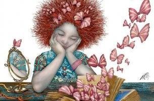 Die Seele zum Lachen bringen - Mädchen mit einem Buch, aus dem zahlreiche Schmetterlinge emporfliegen