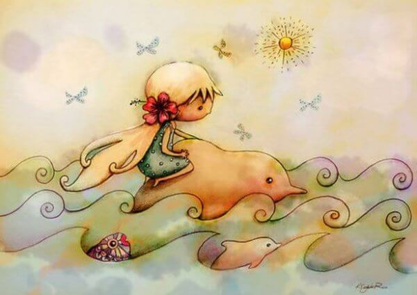 Zeichnung eines Mädchens, das auf einem Delfin durch die Wellen reitet.