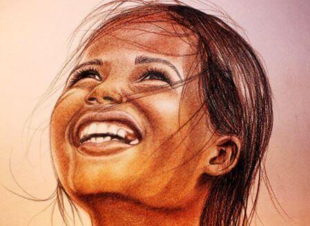 Zeichnung eines Mädchens, das aus vollem Herzen lacht.