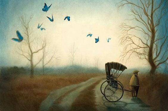 Blaue Schmetterlinge fliegen über einen Weg