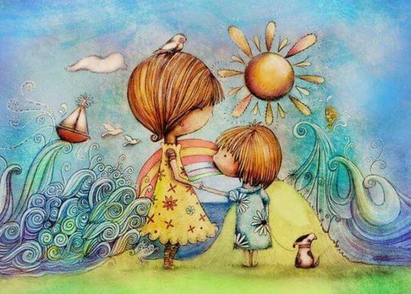 Selbsteinschätzung von Kindern - einfühlsame Beziehung zwischen Mutter und Tochter.