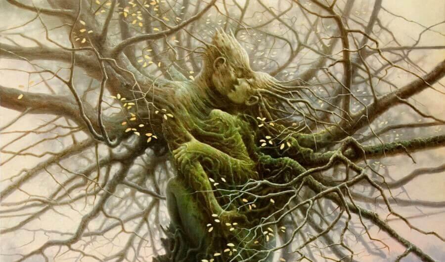 Paar bildet einen Baum, der jedem Sturm trotz