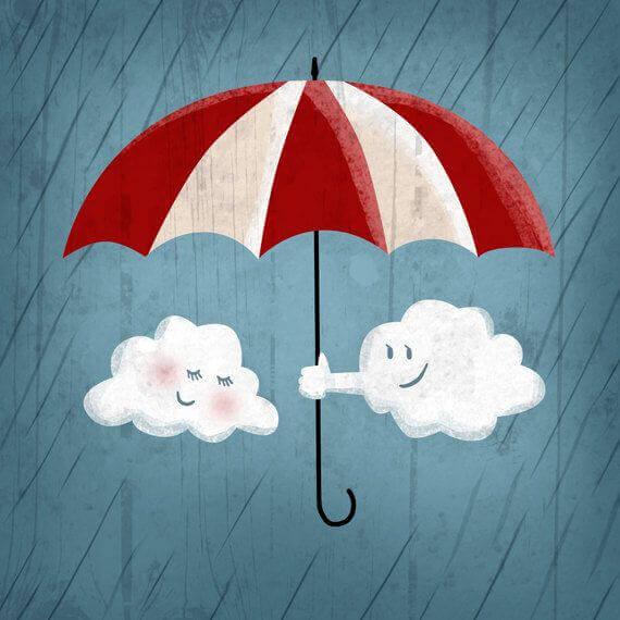Ein Regenschirm über Wolken mit Gesichtern