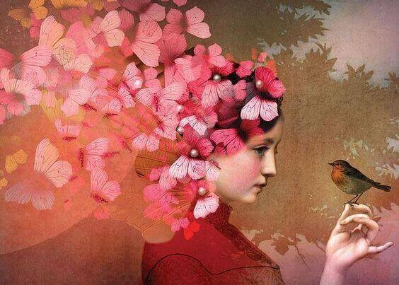 Frau mit rosa Schmetterlingen im Haar und einem Vogel auf der Hand