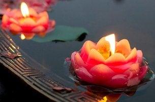 Schwimmkerzen in Blütenform