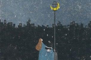 Sterntaler fängt von einem Mond in einer Laterne fallende Sterne auf.