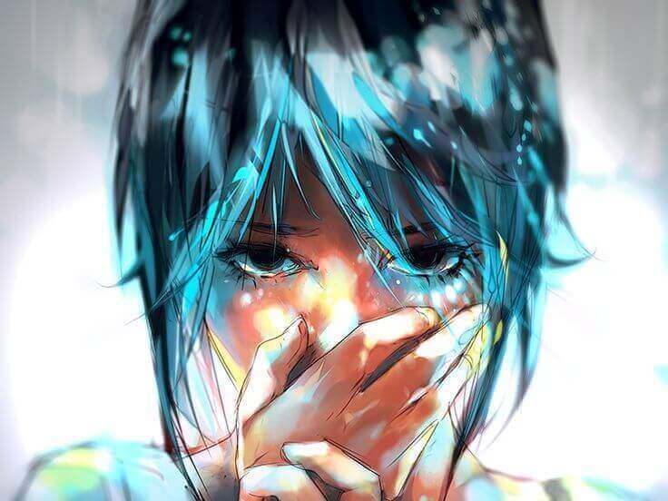Besser nichts sagen - Mädchen mit blauen Haaren hält sich die Hand vor den Mund