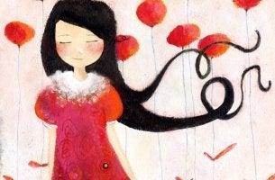 Die schönste Blume - Frau vertraut mit geschlossenen Augen