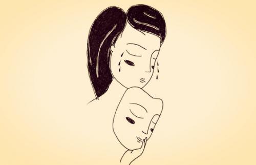 Person, die hinter der lachenden Maske weint