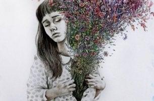 Unmögliche Liebe schmerzt - trauriges Mädchen, das einen Blumenstrauß auf der Brust hält