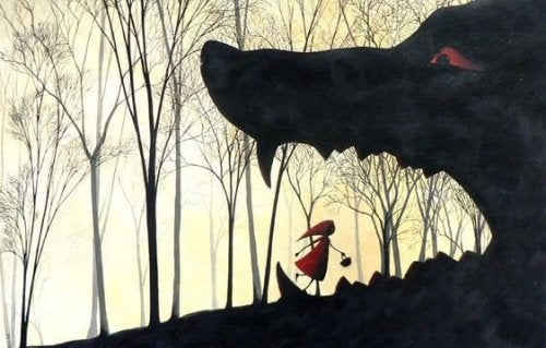 Rotkäppchen, das in das Maul des Wolfs spaziert