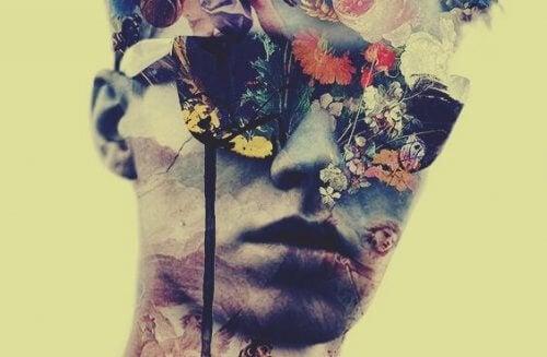 Mann mit Sonnenbrille und Blumen