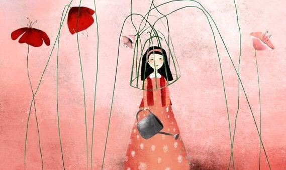 Frau, die von ihren Blumen gefangen gehalten wird