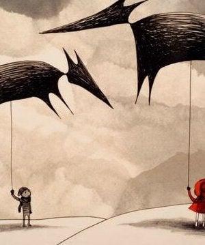 Die Perspektive wechseln - Menschen halten Wolfsfiguren über ihren Köpfen
