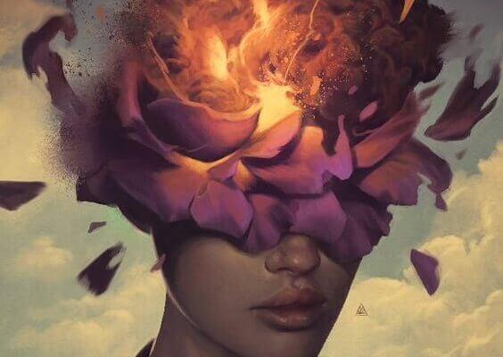 Feuer zerstört den Geist einer Frau
