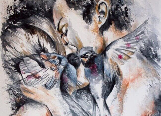 Küssendes Paar mit Tauben