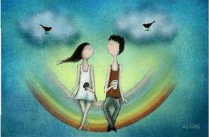 Freiheit in einer Beziehung - Paar sitzt auf Regenbogen