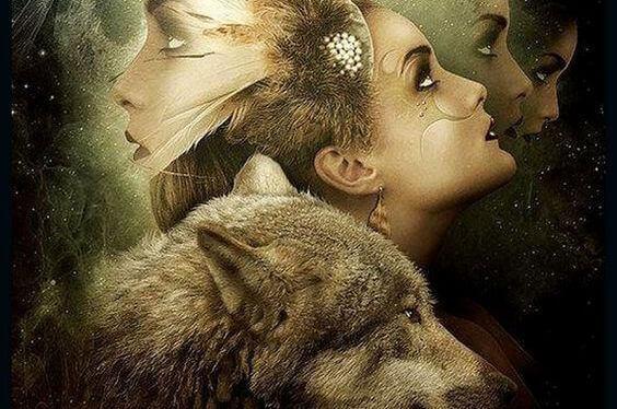 Wolf und Gesichter von Frauen