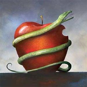 Schlange umwindet Apfel