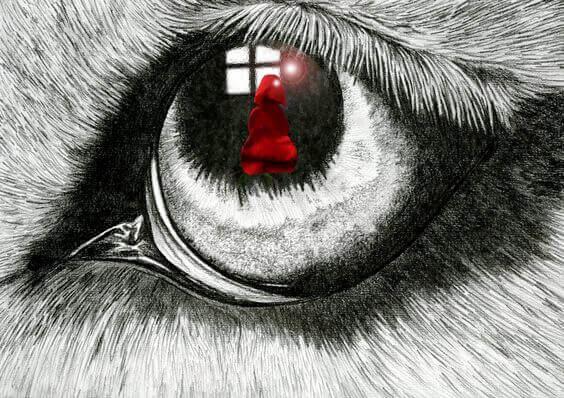 Auge eines Tieres sieht Menschen