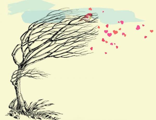 Herzen wehen vom Baum