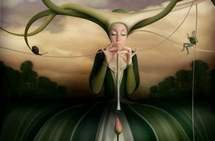 Frau mit Flöte