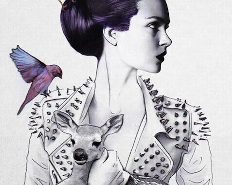 Frau mit Reh und Vogel