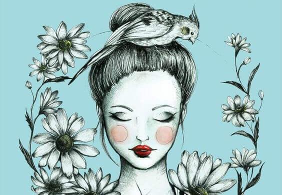 Frau inmitten von Blumen mit einem Vogel auf dem Kopf