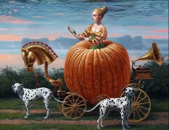 Frau mit Dalmatinern in Kutsche aus Kürbis