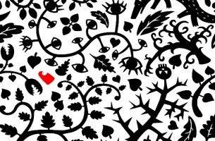 Labyrinth aus Bäumen, Zweigen und Blättern