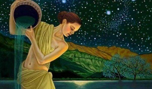 Frau mit Tonkrug vor Sternenhimmel